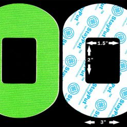 "Neon green StayPut adhesive patch for wearable diabetes and medical devices with a 2x1.5"" cutout"