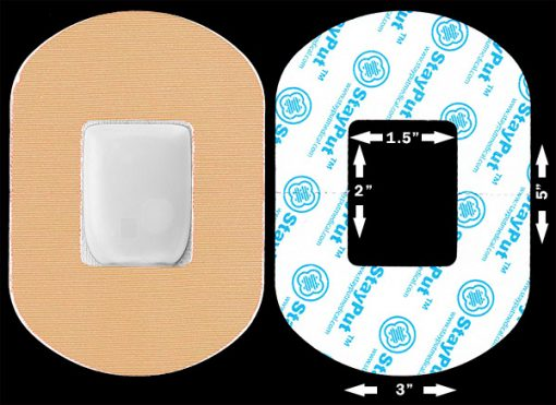 "Beige StayPut adhesive patch in the 2x1.5"" cutout size"