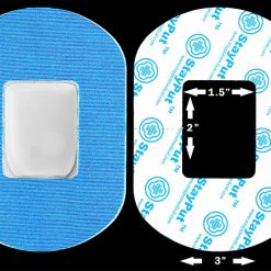 "Blue StayPut Medical adhesive patch in 2x1.5"" cutout size"