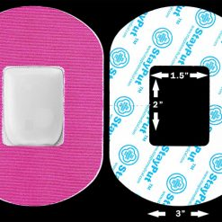 "Pink StayPut Medical adhesive patch in 2x1.5"" cutout size"