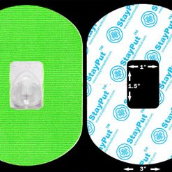 Neon Green StayPut Adhesive Patch for diabetes and other medical devices, in the 1.5x1