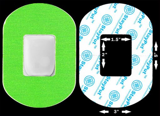Neon green StayPut adhesive patch for Omnipod, Neulasta, and other medical equipment.
